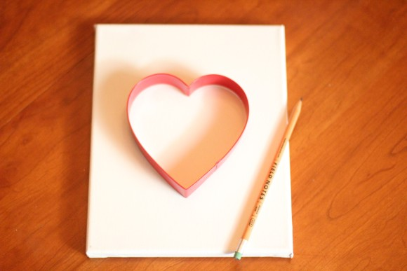 Draw a heart using a cookie cutter