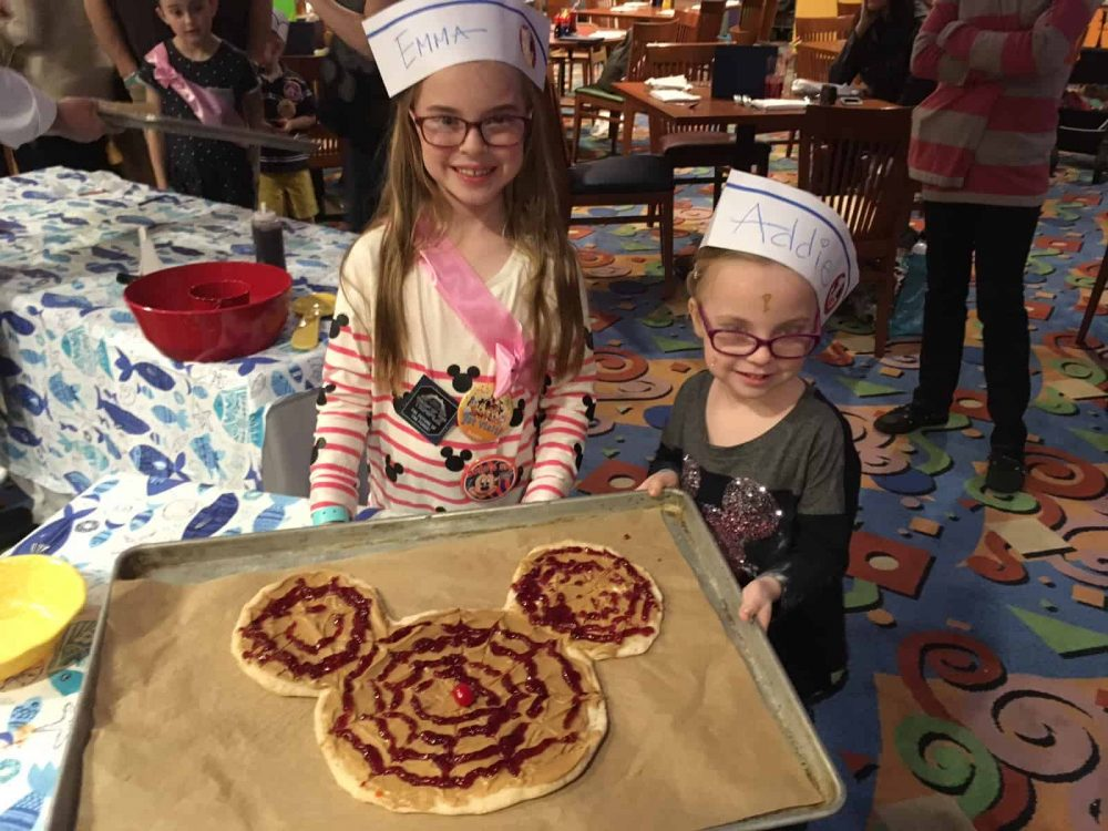 Making a Mickey peanut butter and jelly pizza at PCH Grill at Disneyland