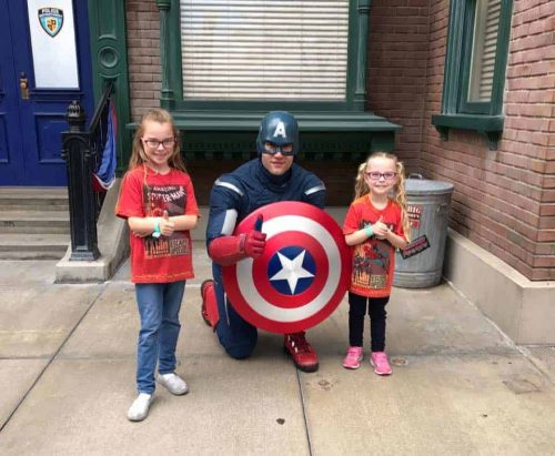 two girls with captain america