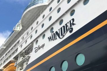 Side of the Disney Wonder cruise ship