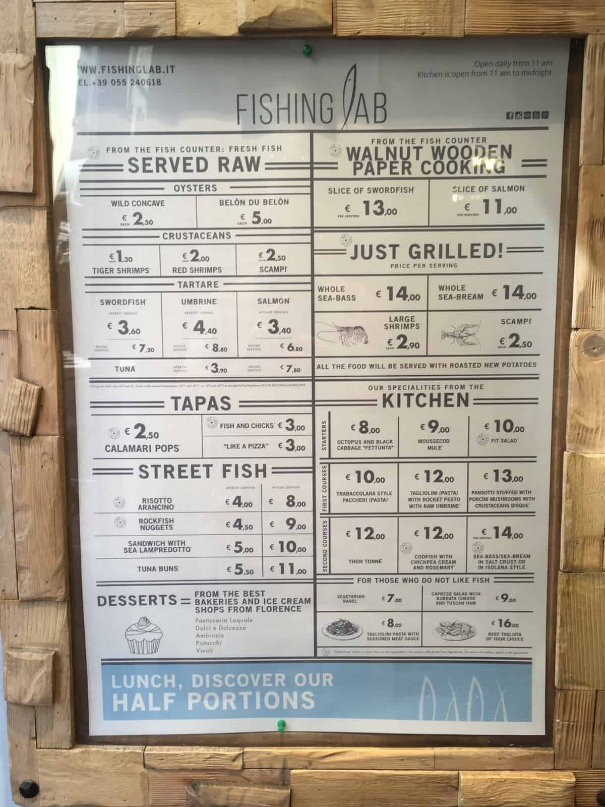 Menu posted in the entry for Fishing Lab