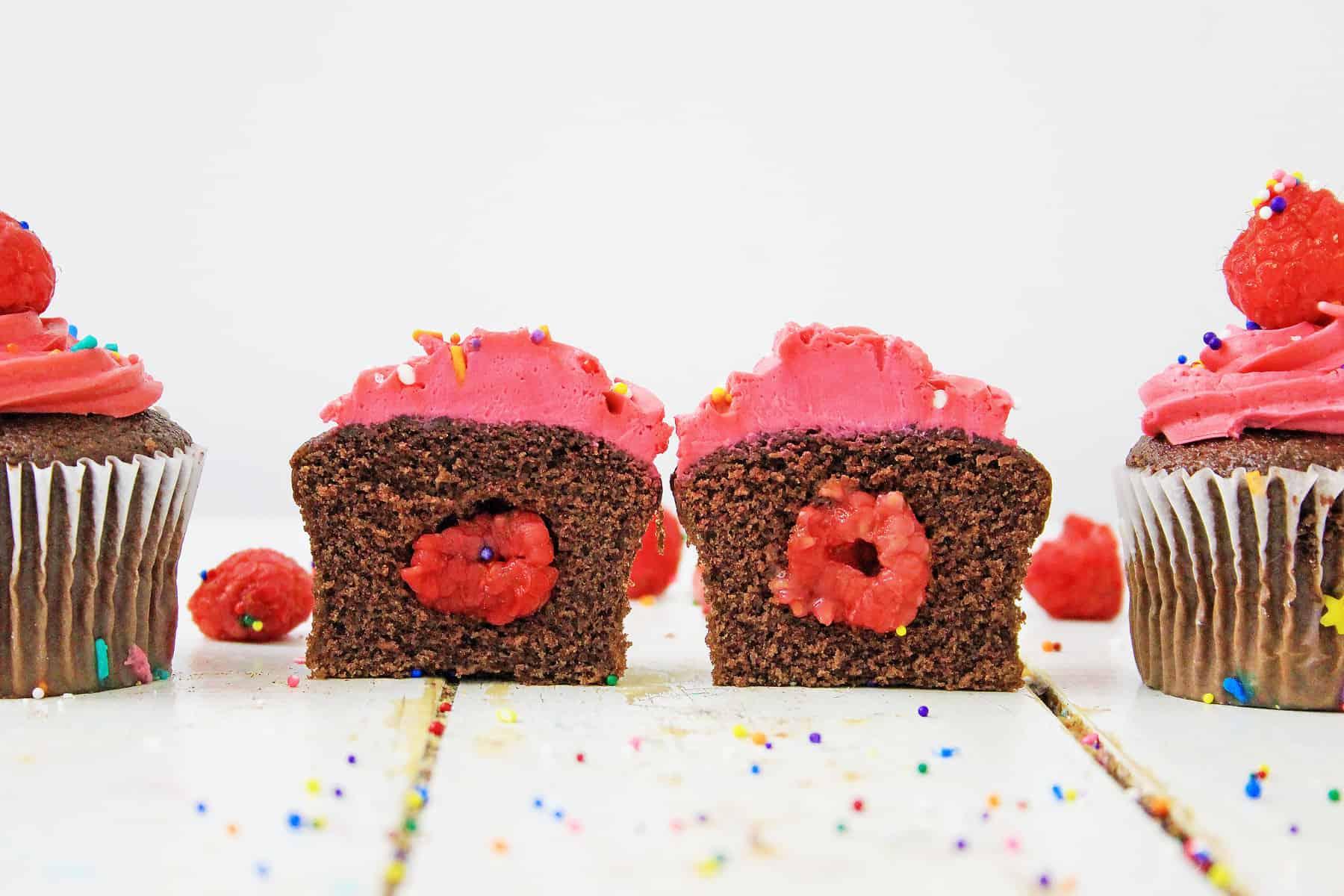 Center of raspberry cupcake