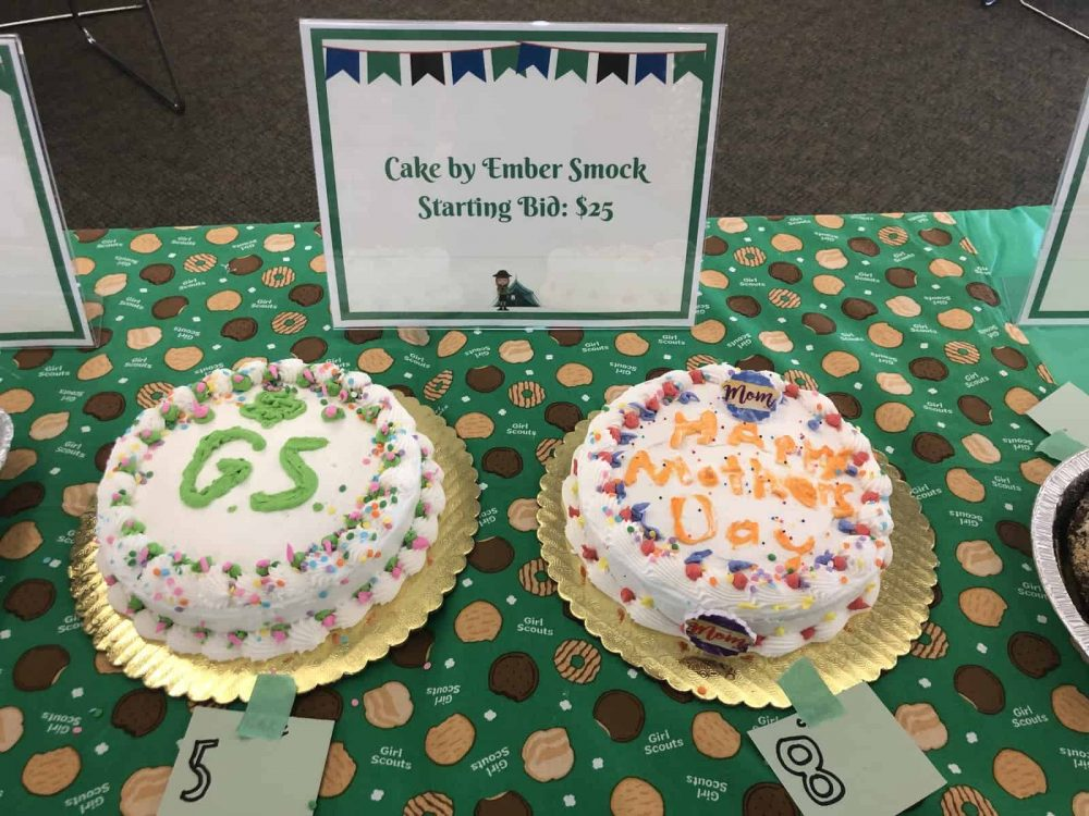 Cakes made by Junior Girl Scouts for a cake auction