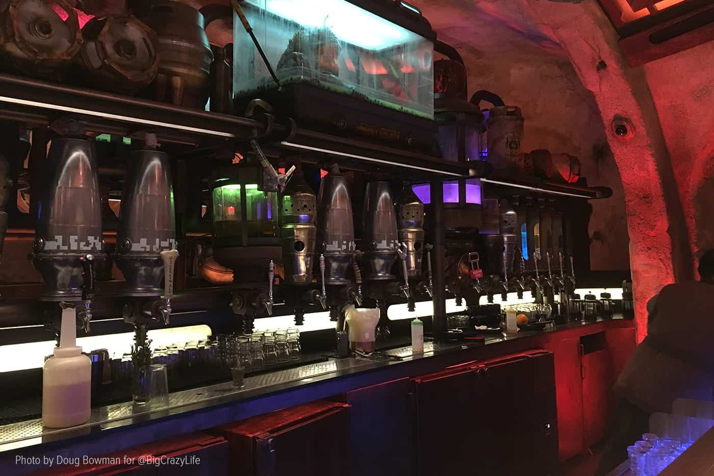 The many taps behind the bar at Oga's Cantina