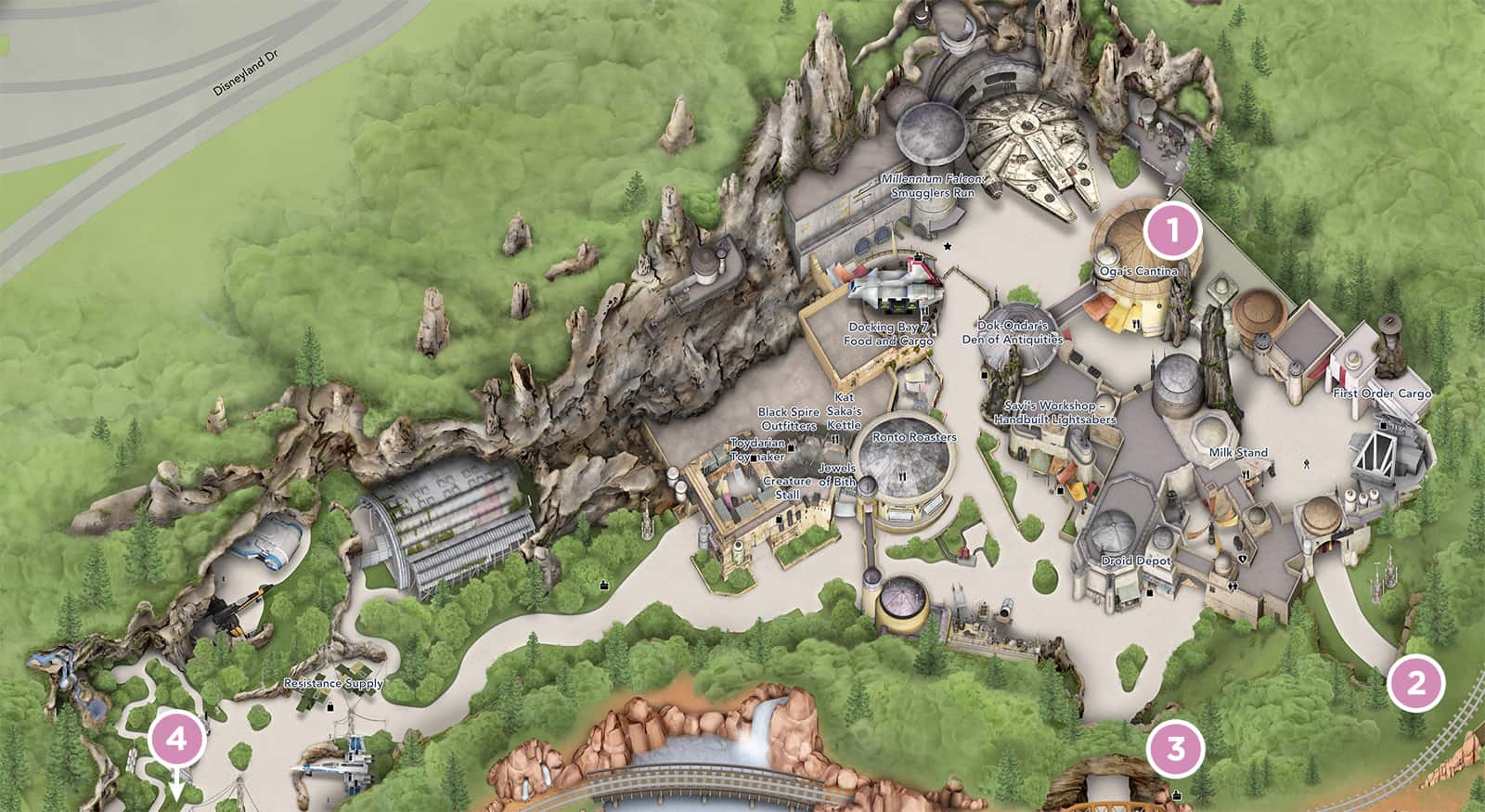 Full map of Star Wars Land (a.k.a, Galaxy's Edge)