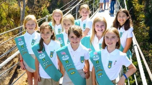 Girls Scouts bridging to the Junior level.