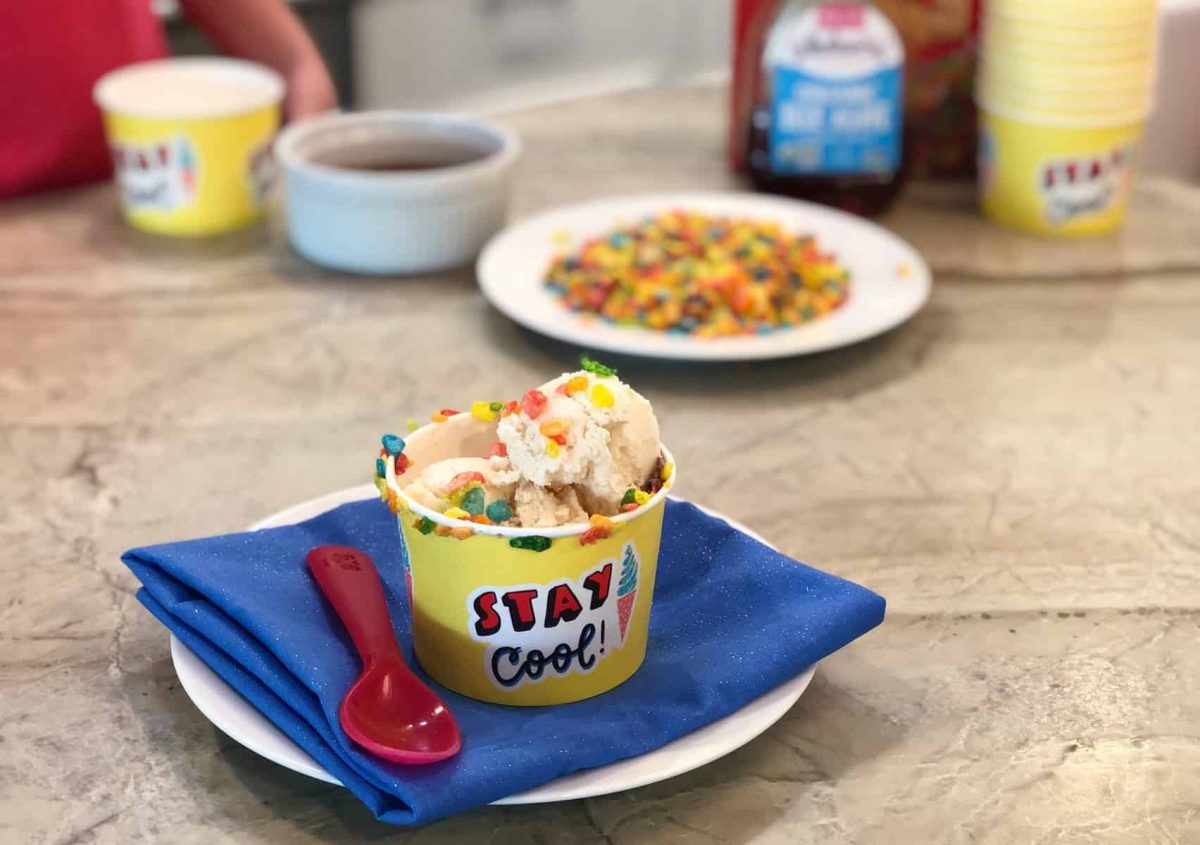 Fruity Pebbles as an ice cream topper
