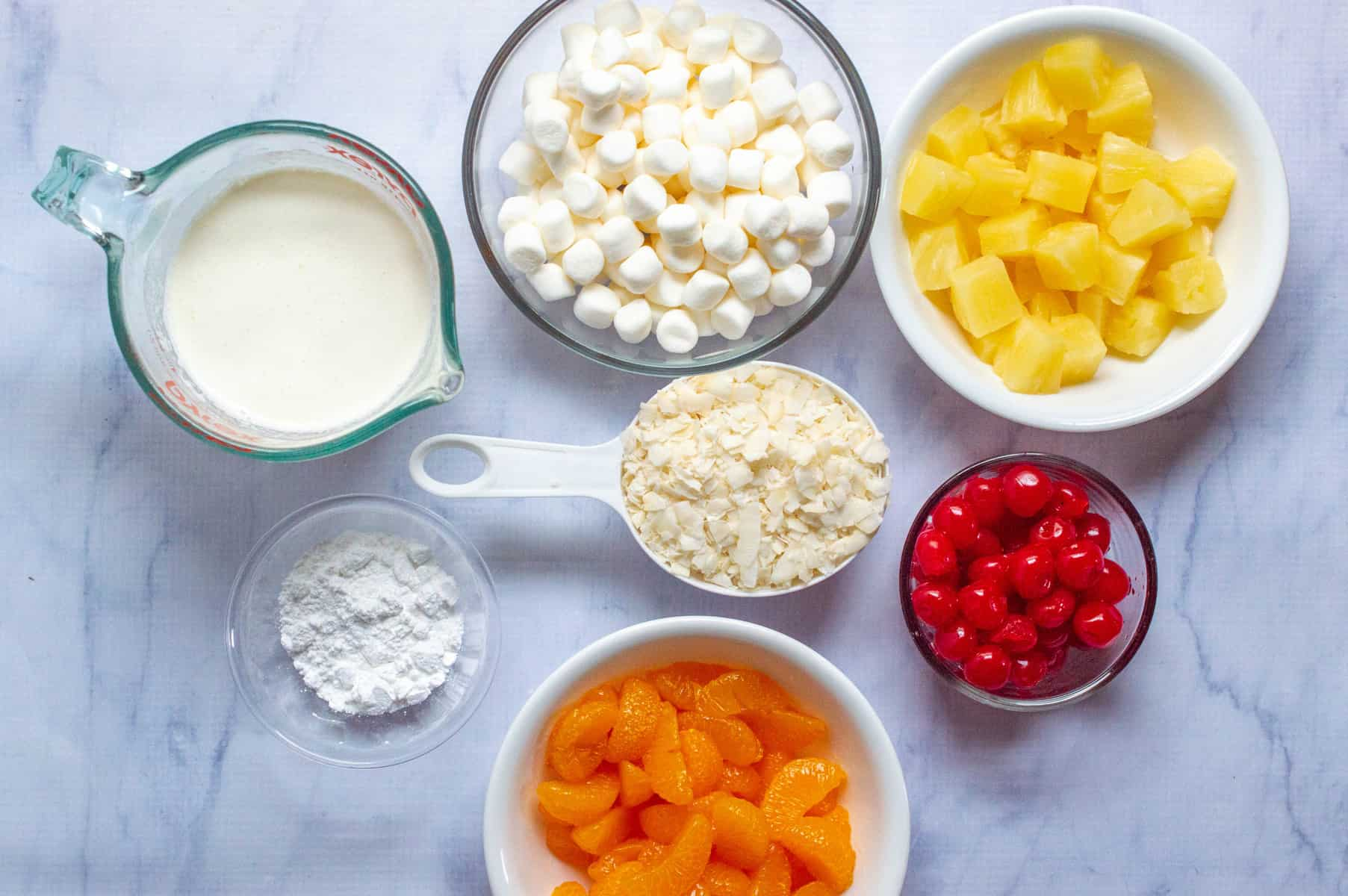 ingredients for ambrosia salad