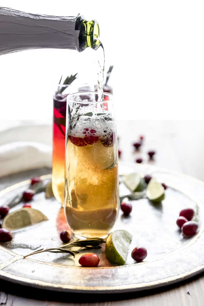 champagne and cranberry cocktail