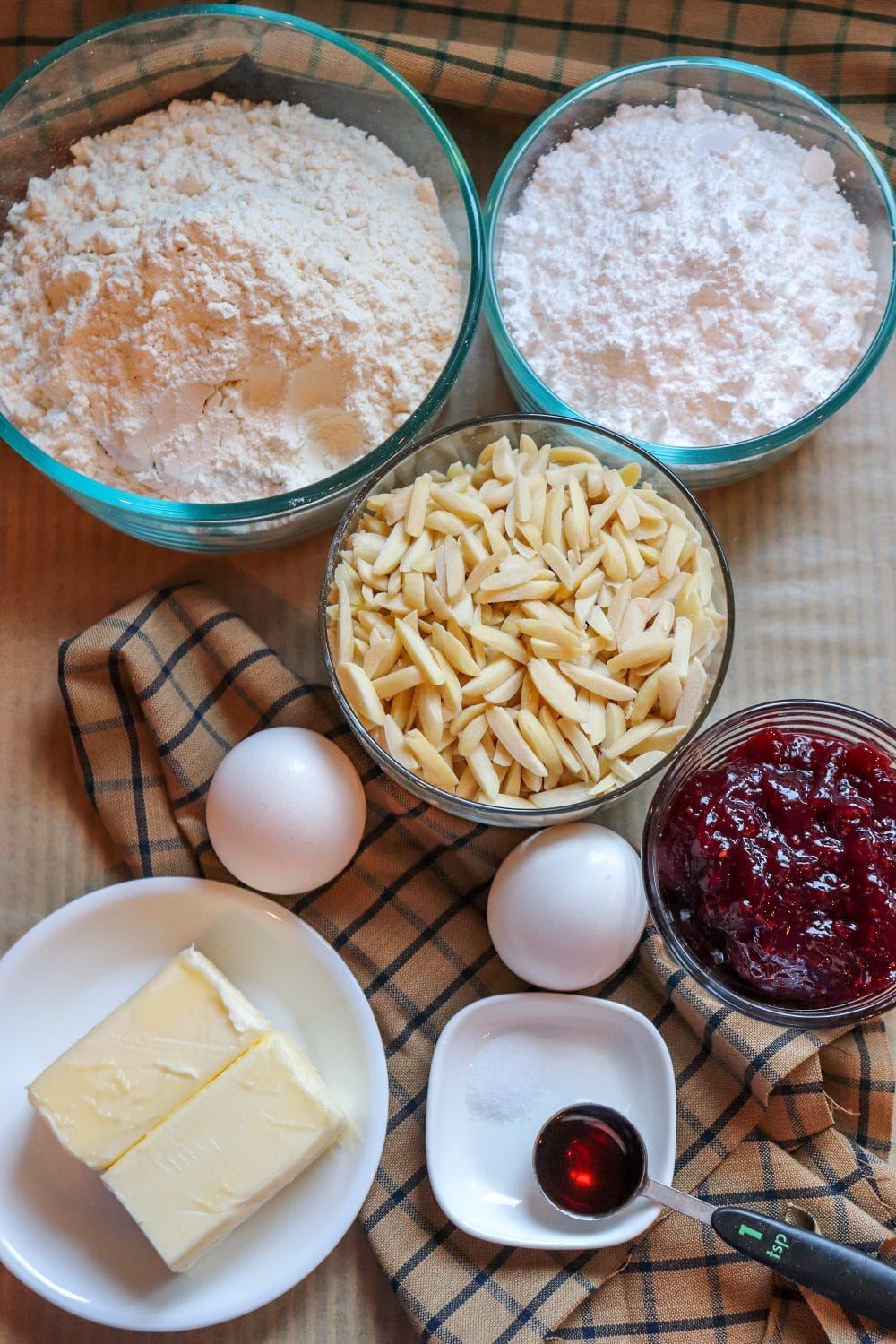 Ingredients for Linzer cookies