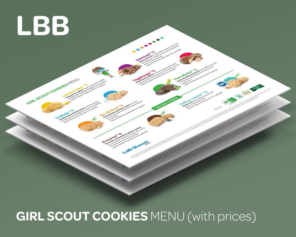 Our custom Girl Scout Cookies Menu