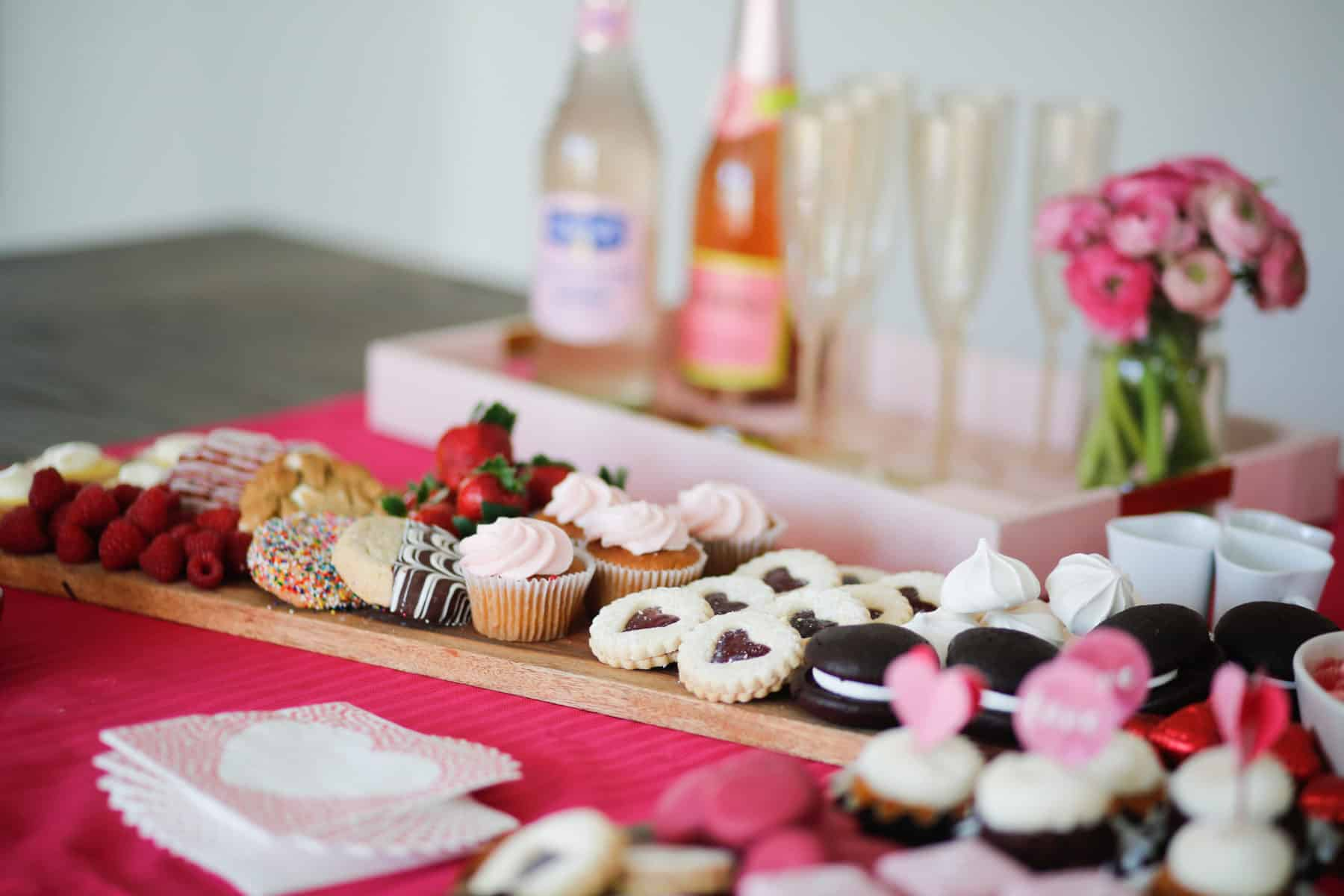 candy and cookies on a board