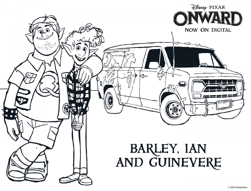 Onward coloring sheet: Barley and Ian