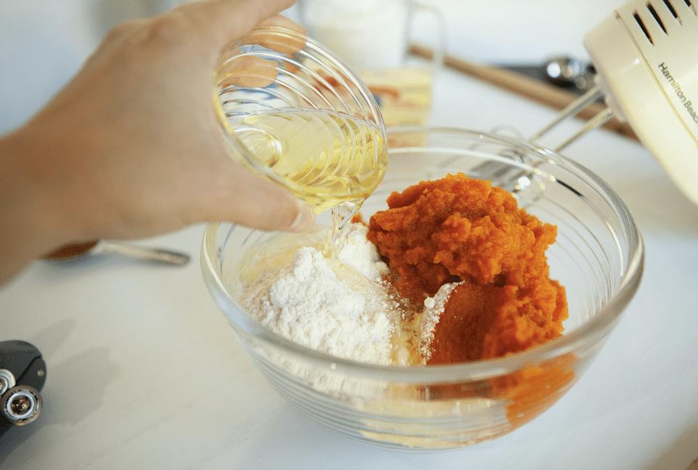 mixing pumpkin ingredients