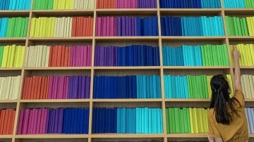 shelves and shelves of rainbow-colored books